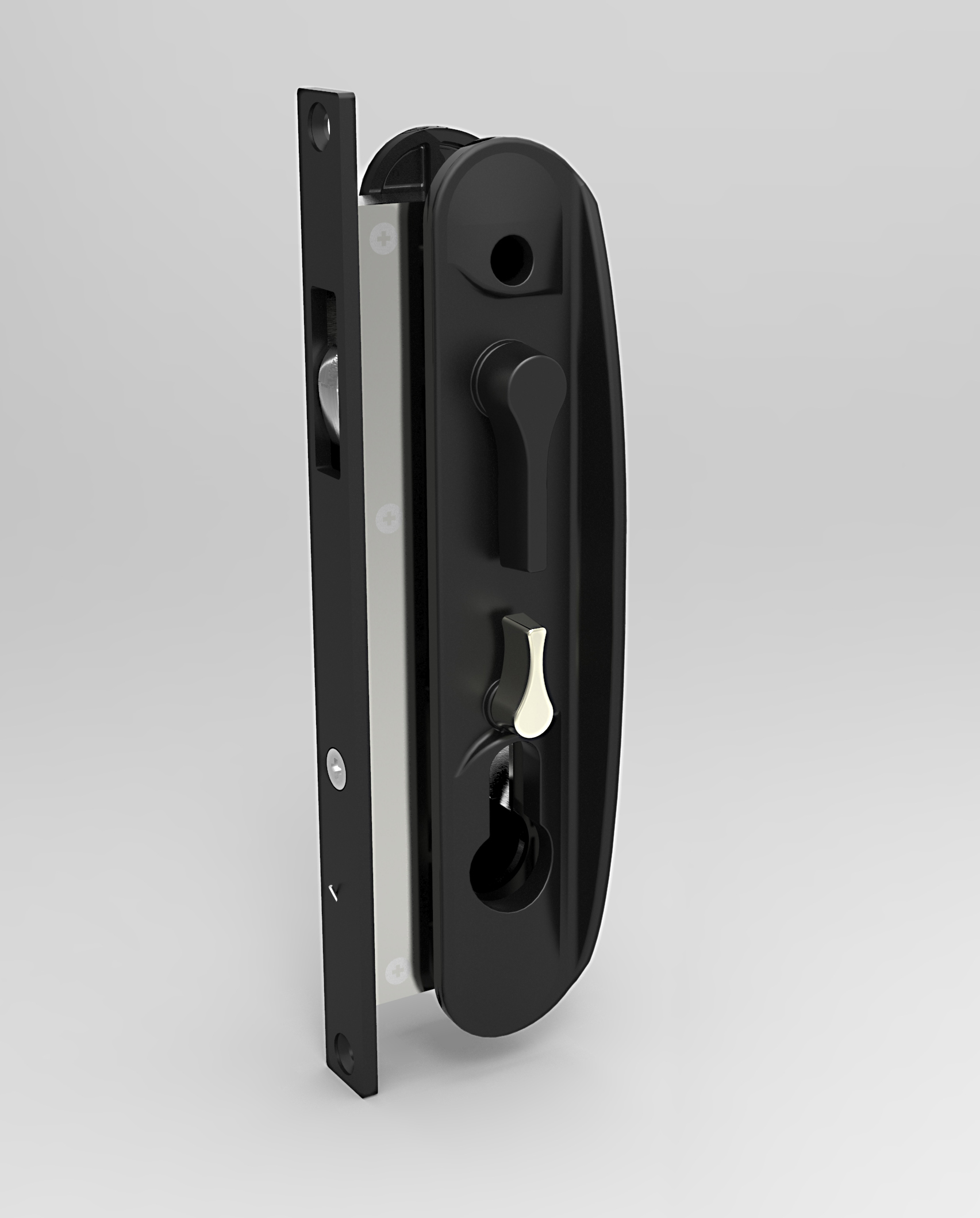 CommandeX Sliding Security Door Lock White with Rounded Face